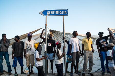 An informal refugee camp at the Italy-France border.