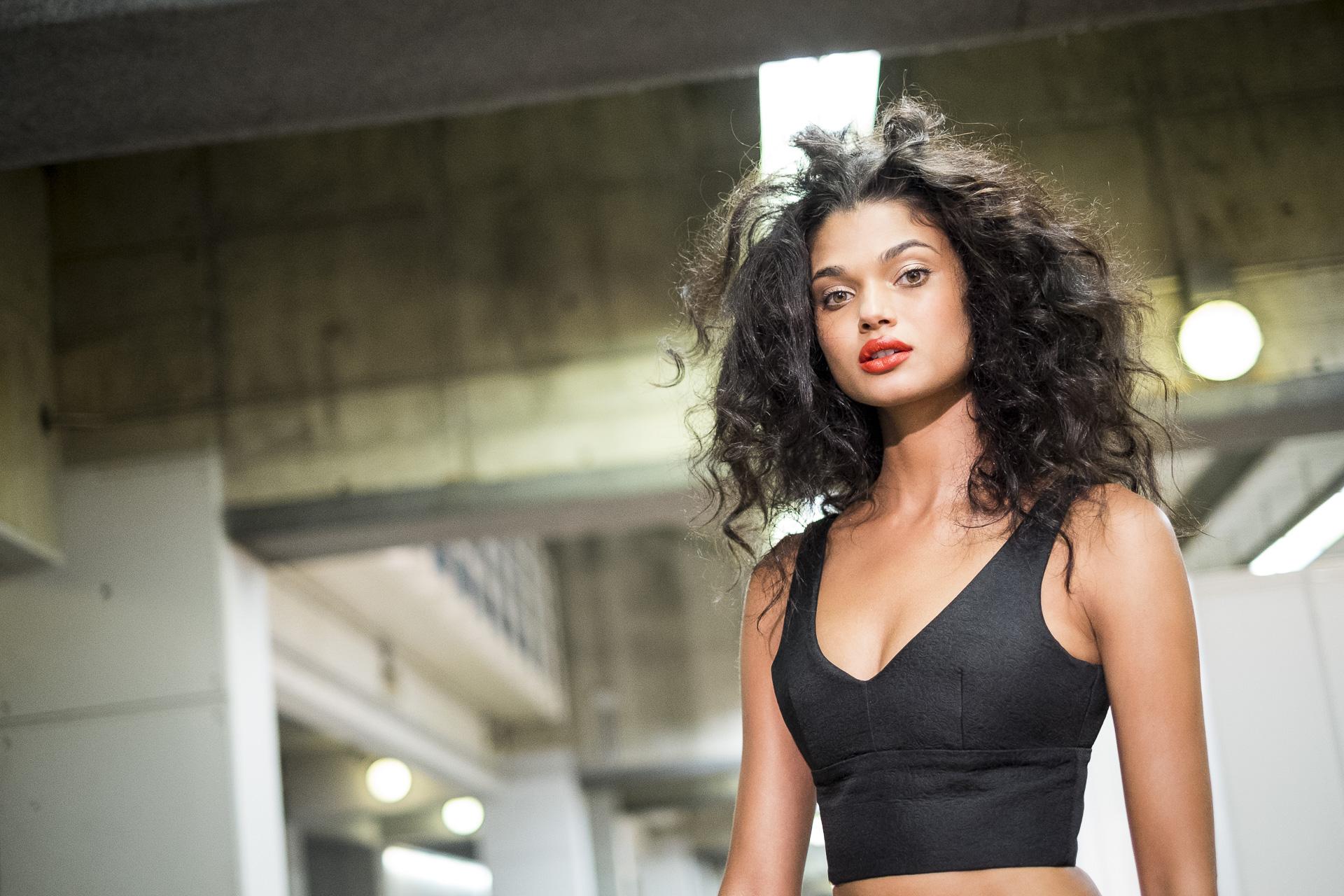 The brasilian model Daniela Braga poses for a portrait in the backstage