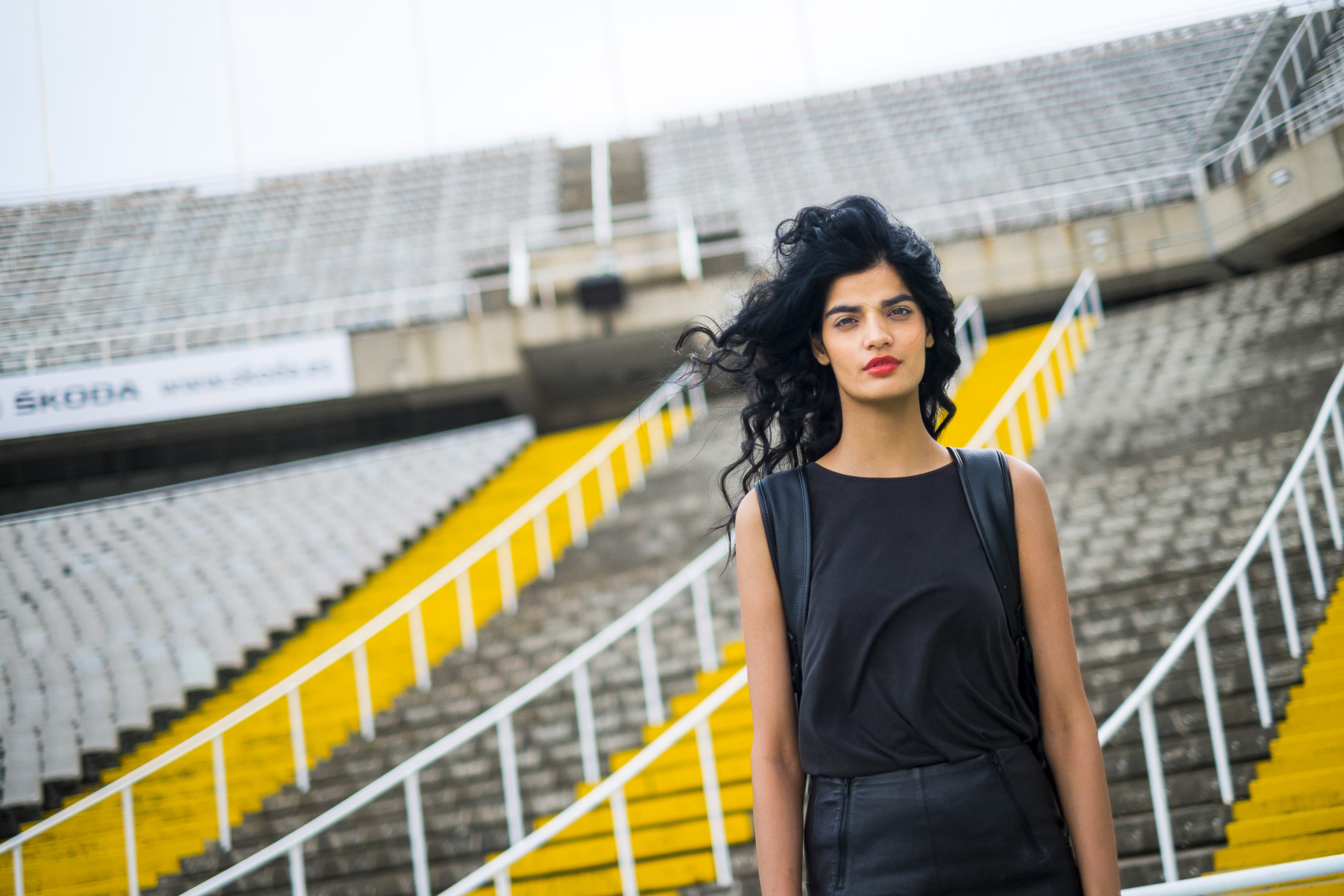 The indian model Bhumika Arora poses for a portrait in the Olympic Stadium