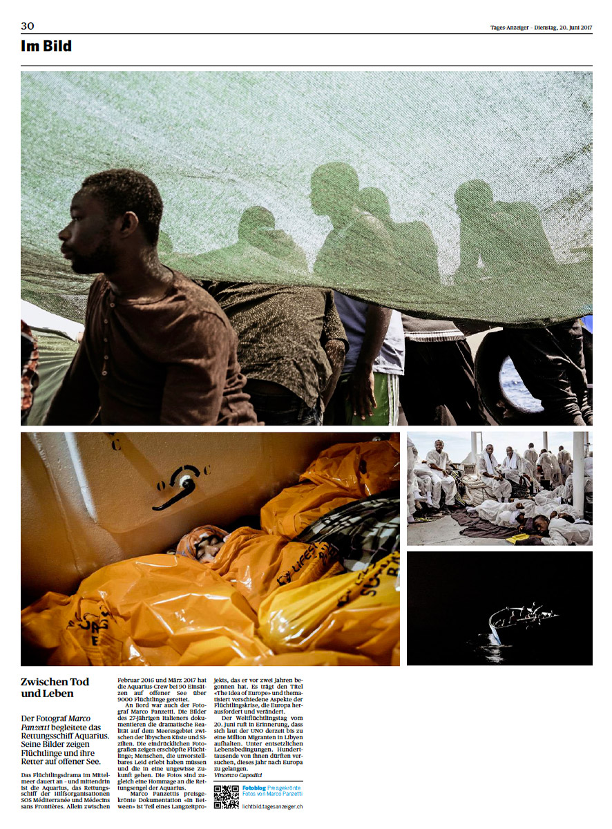 Marco Panzetti's photographs publication in Tages-Anzeiger
