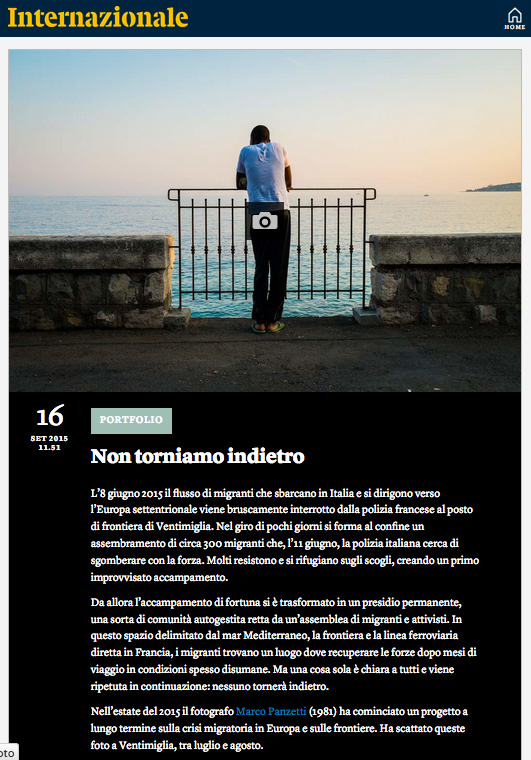Marco Panzetti's photographs publication in Internazionale