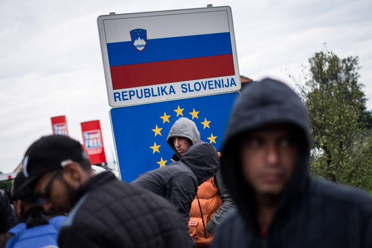 Harmica, Croatia. Migrants stranded at the Slovenian border.