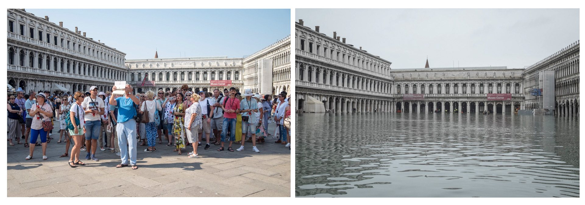 Diptych showing Venice flooded by tourists and by water