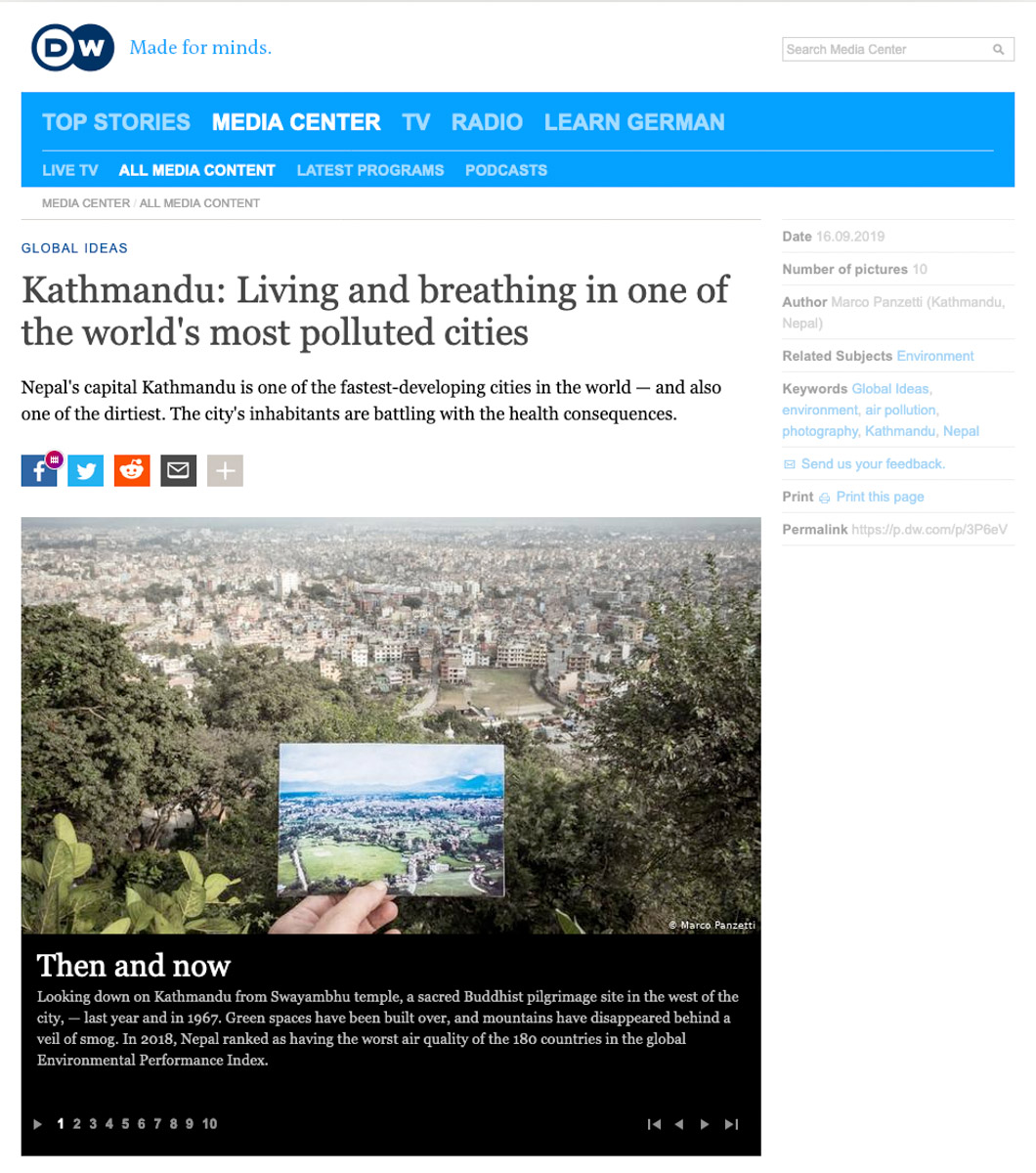 Publication in Deutsche Welle - Kathmandu: Living and breathing in one of the world's most polluted cities