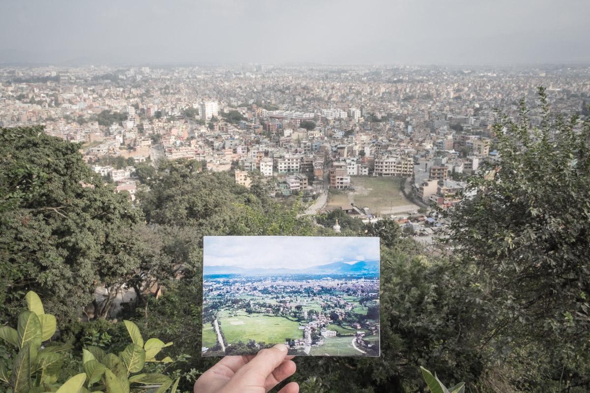 Kathmandu, Nepal, seen from above. Before/After effect.