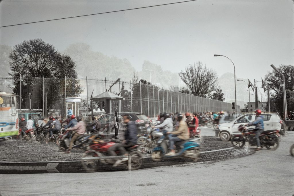 An image composed by two superimposed photographs showing the same Kathmandu crossing in 1975 and in 2018. The old archive photo is courtesy of PC Nepal Photo Project / Nepal Picture Library; the new photo (reproducing the exact same frame) was taken by me in October 2018. This artwork is part of a documentary project done in Nepal in October 2018 during my art residency with Photo Kathmandu Festival. The project is about the human, social and environmental consequences of Kathmandu's ultrafast urbanisation process.
