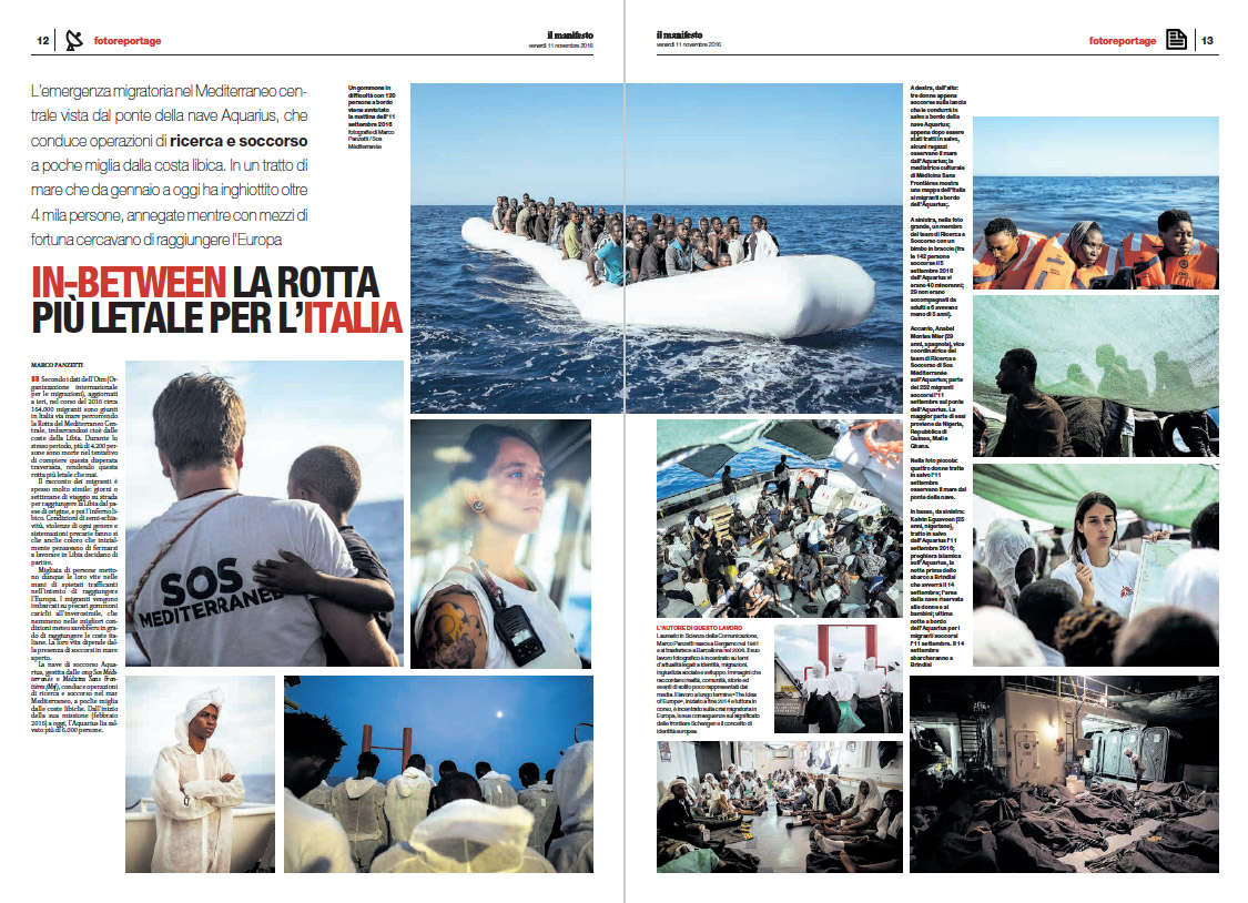 Marco Panzetti's photographs publication in Il Manifesto