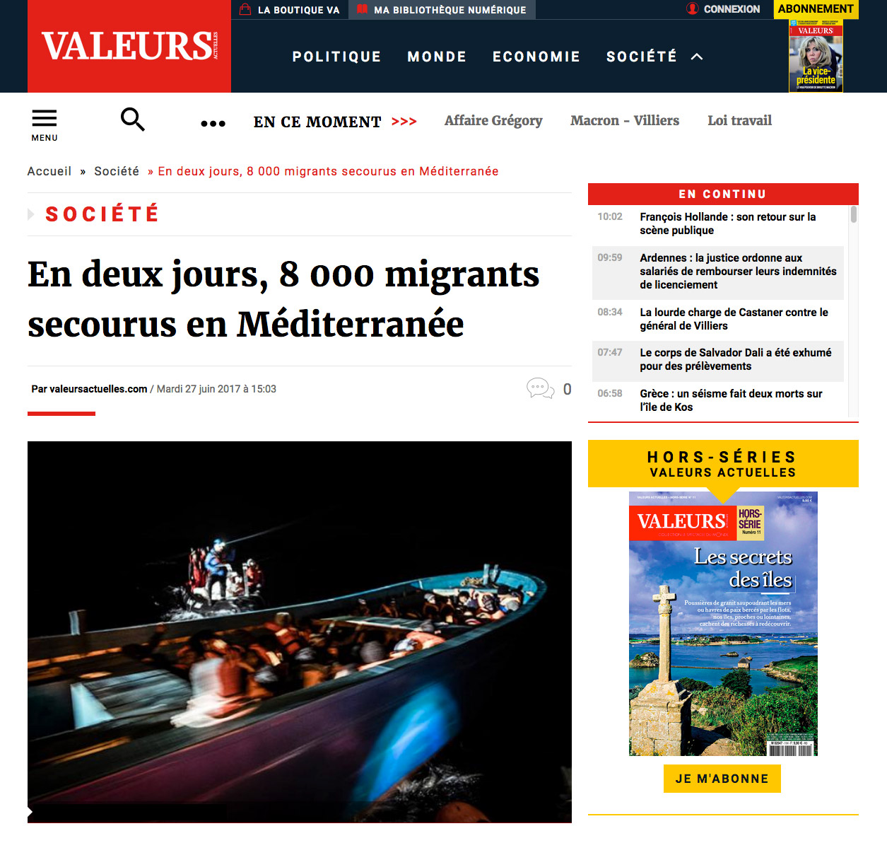 Marco Panzetti's photographs publication in Valeurs
