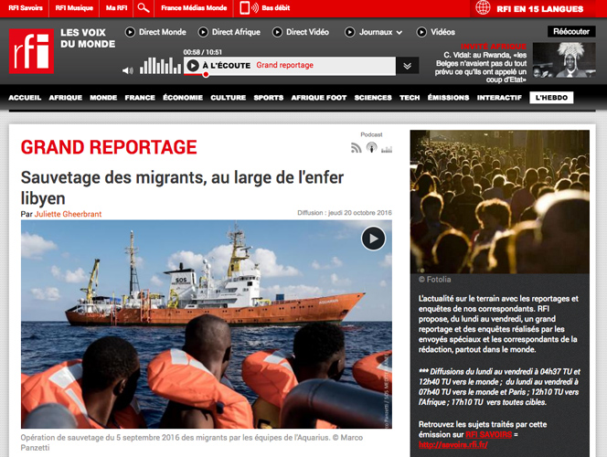 Marco Panzetti's photographs publication in Radio France Internazionale